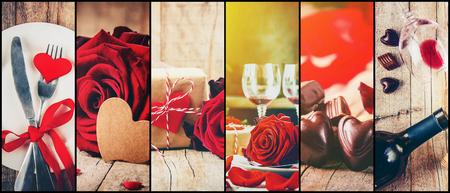 Collage aus Liebe und Romantik. Selektiver Fokus. Standard-Bild