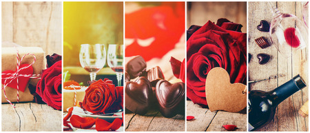 Collage of love and romance. Selective focus. Stok Fotoğraf - 115134454