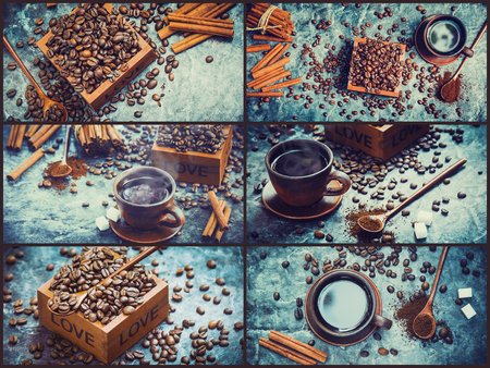 collage many pictures of coffee. Selective focus.