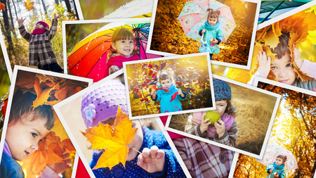 Collage of children and autumn. Selective focus. 스톡 콘텐츠