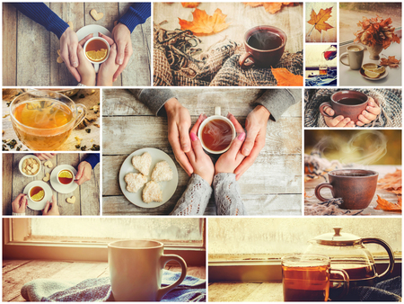 Collage autumn. Selective focus. nature food and drink.