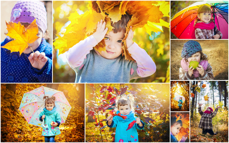 Collage of children and autumn. Selective focus. 免版税图像