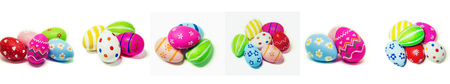 Collage perfect Easter eggs Hand Made. Selective focus.