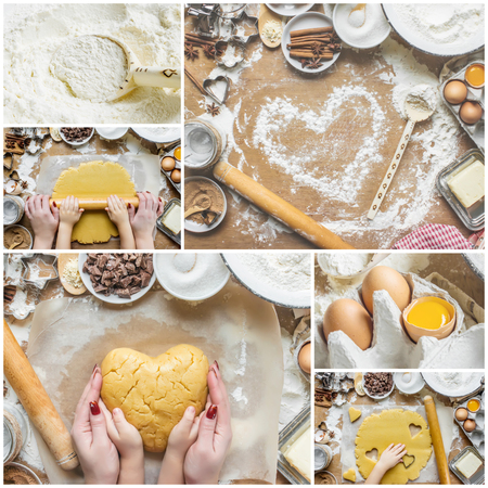 Collage Pastry, cakes, cook their own hands. Selective focus. 版權商用圖片