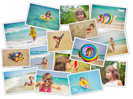 Child at sea. Collage. Selective focus. kids.