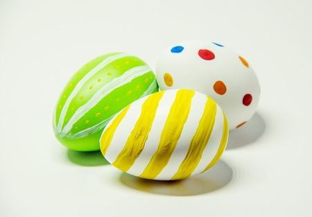 Perfect Easter eggs Hand Made. On white isolated background. Selective focus. food.