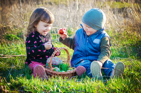 children easter picnic. Selective focus. Stockfoto - 117372925