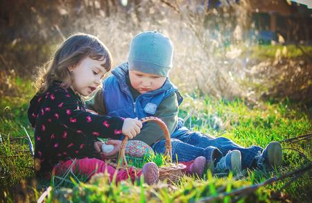 children easter picnic. Selective focus.