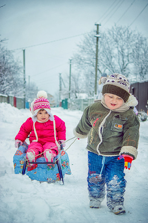 children winter photo. Selective focus.