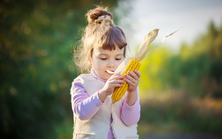 Child with corn. Selective focus. food and drink. 스톡 콘텐츠