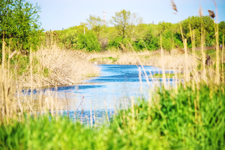 landscape rural river, fishing. copy space. nature. Stock Photo