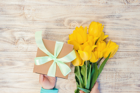 gift and flowers. selective focus. holidays and events. nature