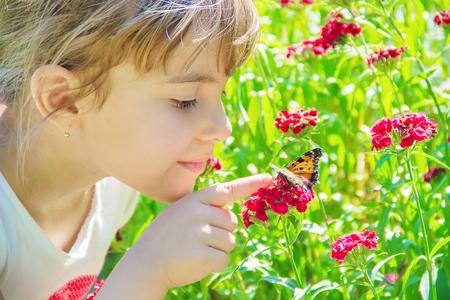 Bambino con una farfalla. Idea leuconoe. Messa a fuoco selettiva.