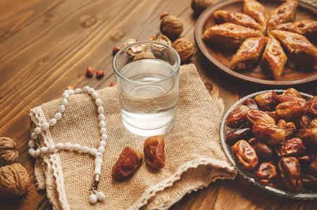 Dates, rosaries and baklava. Ramadan Selective focus nature