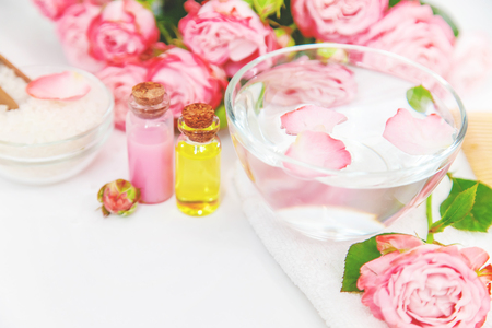 cosmetics with rose flower extract. Selective focus. nature