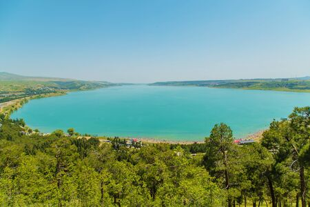 Tbilisi reservoir. View from above. Selective focus nature