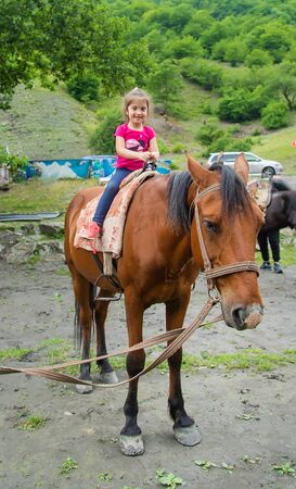 child with horses. Love to the animals. Selective focus.