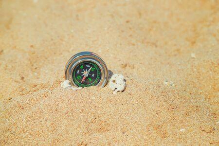 compass on the sea coast. Selective focus. nature Stock Photo