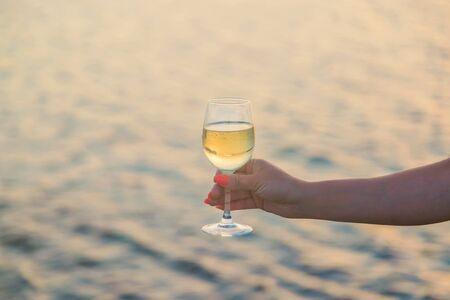 Drink wine by the sea. Selective focus. nature