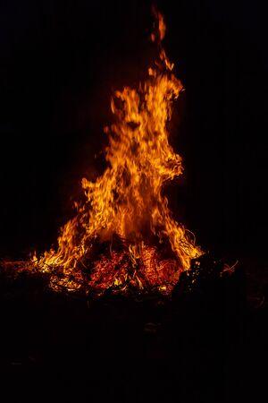 big bonfire, grass fire burn. Selective focus. nature.