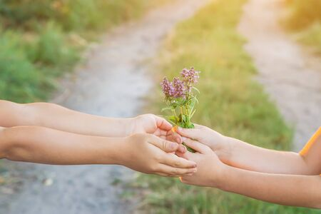 children hold hands together with flowers. Selective focus. nature.