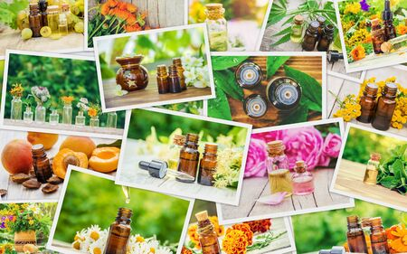 Collage of different pictures of extracts of herbs. Homeopathy. Selective focus. Nature.