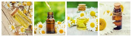 Collage of different pictures of chamomile flower extracts. Homeopathy. Selective focus. Nature. Stock fotó