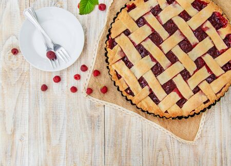 Raspberry pie on the table. Selective focus. food.