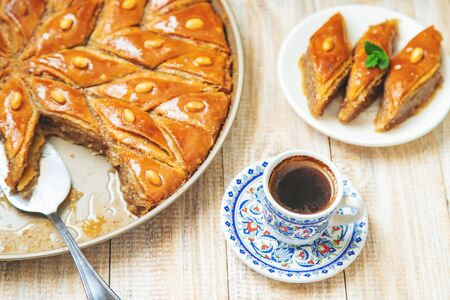 Turkish coffee and baklava on the table. Selective focus. nature.