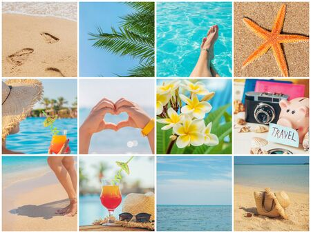 Collage de concepto de viaje. Vacaciones en el mar. Naturaleza de enfoque selectivo