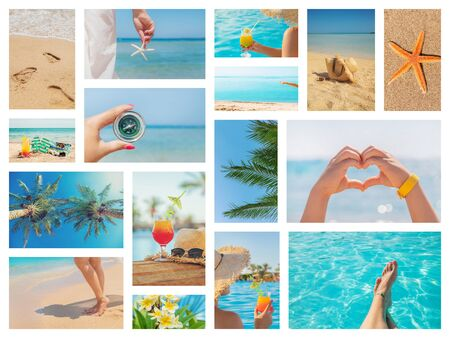 Travel concept collage. Sea vacation. Selective focus nature