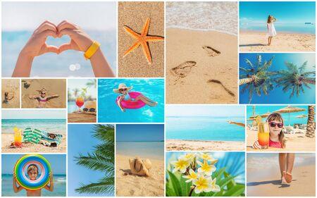 Collage de concepto de viaje. Vacaciones en el mar. Enfoque selectivo. naturaleza Foto de archivo