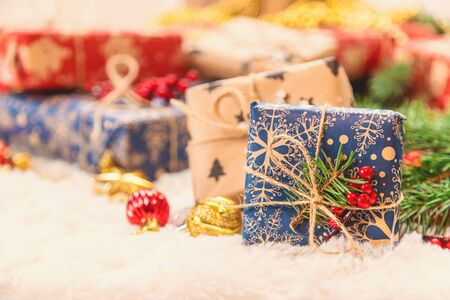 Christmas decorations, New Year decor. Selective focus nature Archivio Fotografico - 131401116
