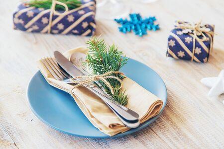 Christmas background. Table setting. Selective focus Holiday Food