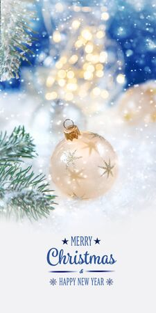 Merry Christmas and Happy New Year, Holidays greeting card with blurred bokeh background. Stock Photo