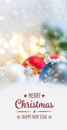 Merry Christmas and Happy New Year, Holidays greeting card with blurred bokeh background. Standard-Bild