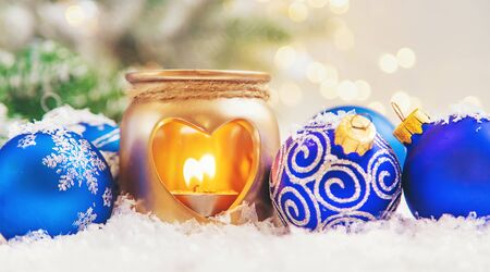 Beautiful christmas background with decor. Selective focus. Holiday. Stok Fotoğraf