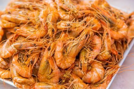 Large shrimp on a plate. Selective focus. Food. 写真素材 - 137823998