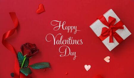 Beautiful red background Happy Valentines Day. Selective focus. Holiday. Stock Photo