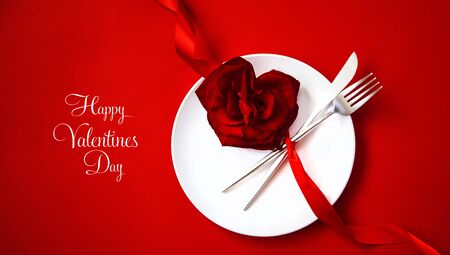 Valentines day romantic dinner congratulation. Selective focus. Holiday. Stock Photo