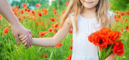children girl in a field with poppies. selective focus.