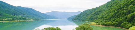 Georgia Ananuri Monastery. Large reservoir. Lake in the pea. Selective focus. nature