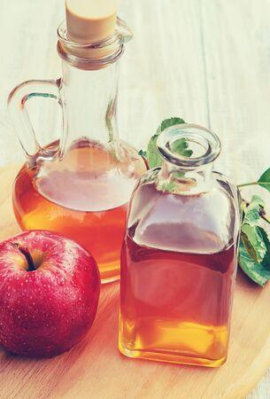 Apple cider vinegar in a bottle. Selective focus. nature. 写真素材