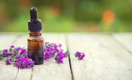 Lavender essential oil in a small bottle. Selective focus.nature. 스톡 콘텐츠 - 152341281