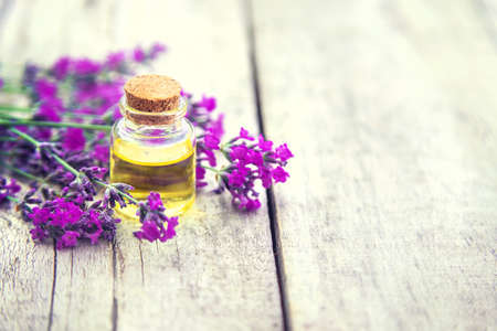 Lavender essential oil in a small bottle. Selective focus.nature. 스톡 콘텐츠 - 152340107