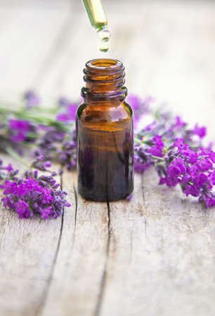Lavender essential oil in a small bottle. Selective focus.nature. 스톡 콘텐츠 - 152340073