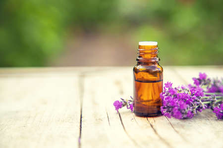 Lavender essential oil in a small bottle. Selective focus.nature. 스톡 콘텐츠 - 152340166