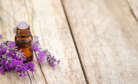 Lavender essential oil in a small bottle. Selective focus.nature. 스톡 콘텐츠 - 152339828