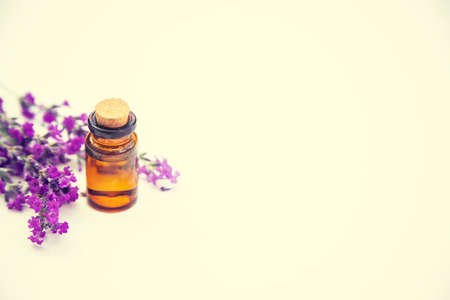 Lavender essential oil in a small bottle. Selective focus.nature. 스톡 콘텐츠 - 152340060