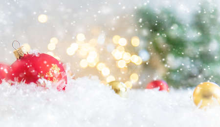 Merry Christmas and Happy New Year, Holidays greeting card background. Selective focus. Reklamní fotografie